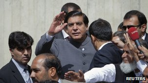 Raja Pervez Ashraf outside the Supreme Court on 18 September