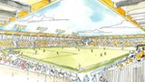 Artist's sketch of proposed new Cambridge United stadium