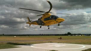 Warwickshire & Northamptonshire Air Ambulance lands at Coventry Airport