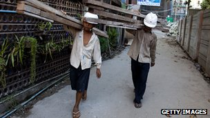 Burma construction workers in Rangoon, 6 Feb 12
