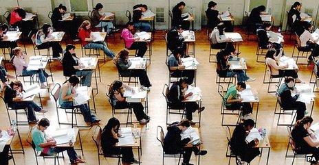 School children sit an exam