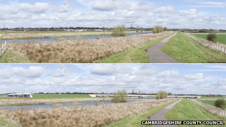 Ely by-pass before (top) and artist&#039;s impression of after
