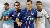Left to right: Carlos Tevez, Santi Cazorla, Zlatan Ibrahimovic and Cristiano Ronaldo