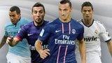 Left to right: Carlos Tevez, Santi Cazorla, Zlatan Ibrahimovic and Cristiano Ronaldo