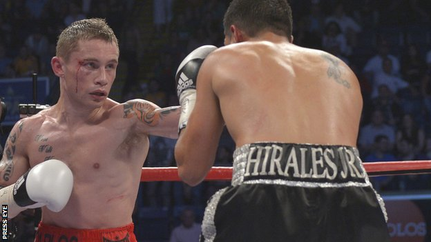 Belfast super-bantamweight Carl Frampton beat Raul Hirales in Nottingham in May 2012
