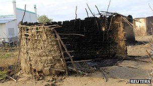 A burned house is seen after an attack in Kilelengwani village in Tana River Delta (10 September)