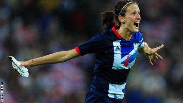 England&#039;s Jill Scott celebrates scoring for Great Britain during the Olympics