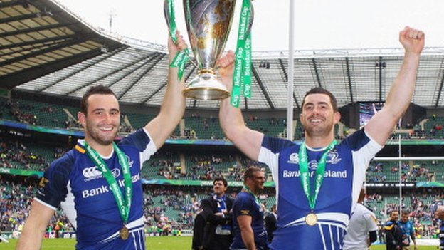 Leinster celebrate winning Heineken Cup