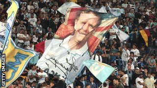 Lazio fans wave a Gazza banner on 2 Sept 2012