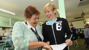 Head teacher Jan with successful pupil Tom Bunce