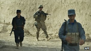 Isaf and Afghan soldiers on joint patrol in Kandahar province (12 Sept 2012)
