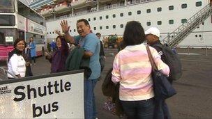 Cruise passengers in Belfast