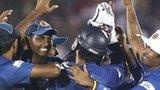 Sri Lanka celebrate dismissing Brendan Taylor