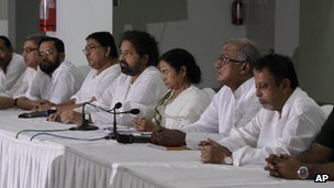 Trinamool Congress party leader Mamata Banerjee attends a meeting with party law makers in Calcutta on Tuesday