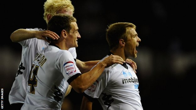 Jamie Ward (right) celebrates scoring for Derby