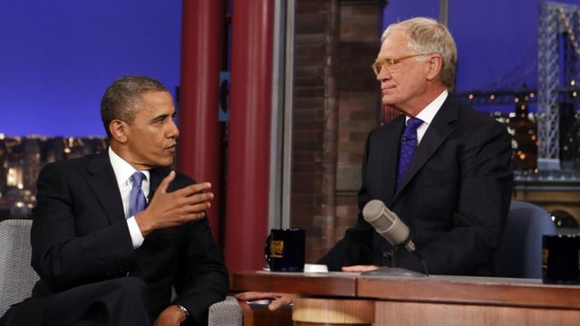 President Barack Obama on David Letterman's talk show on 18 September 2012