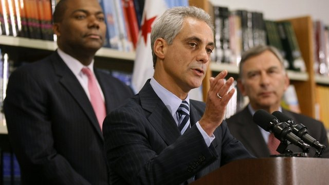 Rahm Emanuel speaks at a press conference 18 September 2012