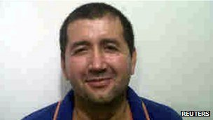 "Alleged Colombian drug trafficker Daniel Barrera, known as ""Loco Barrera"", is seen in this handout photo provided by the national police on 18 September 2012"