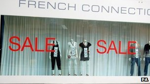 Sale signs in French Connection shop