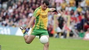 Frank McGlynn is about to blast in Donegal's second goal in the Ulster Final win over Down
