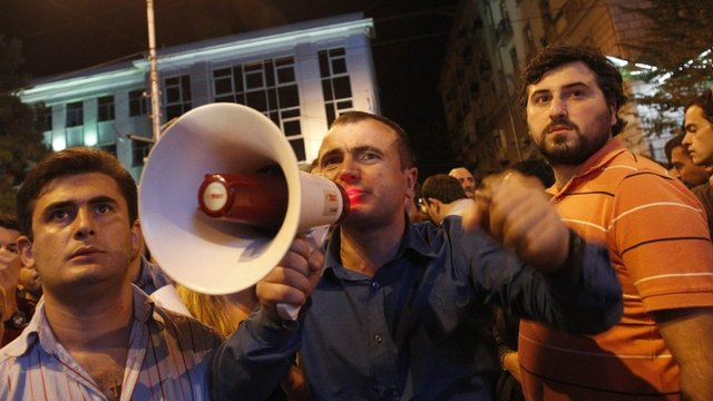 Hundreds of protesters rallied overnight in Tbilisi after the video was shown on TV