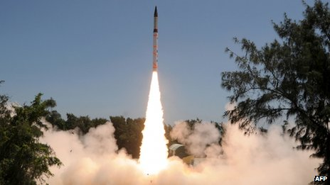 An Agni-IV strategic missile is launched from Wheeler island off the coast of the eastern India state of Orissa on September 19, 2012