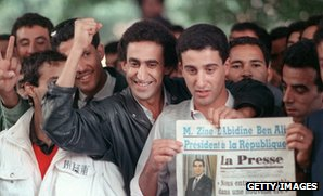 Tunisians celebrate deposition of Habin Bourguiba, November 1987