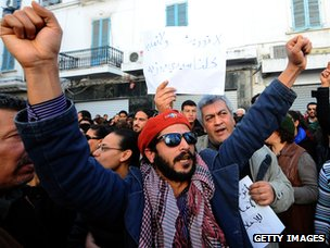 Tunisian protesters, January 2011