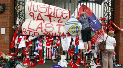 A memorial for the 96 outisde Anfield