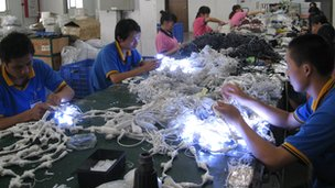 Workers at the Neo Neon factory, China