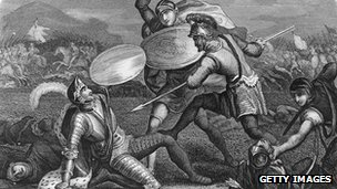 Picture of King Richard III being killed during the Battle of Bosworth Field on 22 August, 1485
