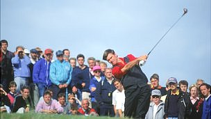 Sir Nick Faldo on the way to winning his third British Open title, at Muirfield in Scotland in 1992