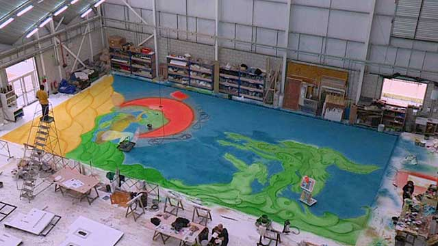 Chris Ofili&#039;s backdrop painting for the Royal Ballet