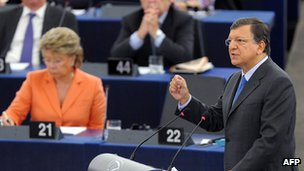 EU Commission President Jose Manuel Barroso gives the state of the union address. Photo: 12 September 2012