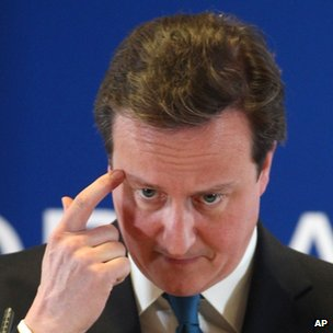 UK Prime Minister David Cameron gestures while speaking at a EU summit in Brussels. Photo: March 2012