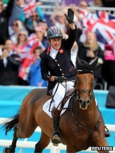 Peter Charles celebrates winning gold at the London 2012 Olympic Games
