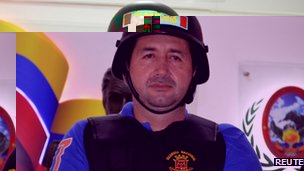 Daniel Barrera wearing a Venezuelan police bullet-proof vest on 19 September 2012