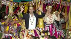 Duke and Duchess of Cambridge taking part in ceremonian dance on Tuvalu