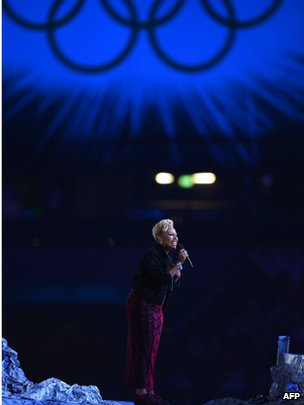 Emeli Sande performing at the closing ceremony of the London 2012 Olympics
