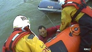 Harwich RNLI pull man from water at Stone Point