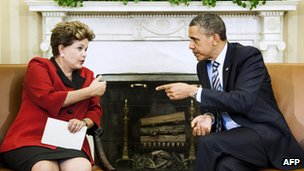 Dilma Rousseff with President Barack Obama