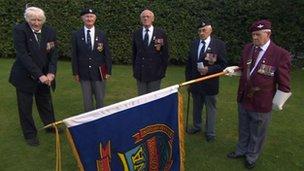 Members of Durham Normandy Veterans Association l-r Ed Murray, Jim Deacon, George Brown, Tom Robson, Wilf Coates