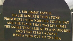 Granite gravestone on Sir Jimmy Savile's grave in Scarborough