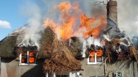Moreton thatched roof fire