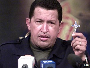 Hugo Chavez addressing the nation after surviving the 2002 coup attempt