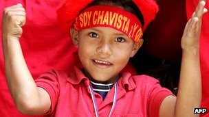 Boy at a rally celebrating Hugo Chavez's victory in the 2004 referendum