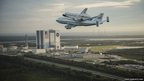 The space shuttle Endeavour, atop Nasa's Shuttle Carrier Aircraft,
