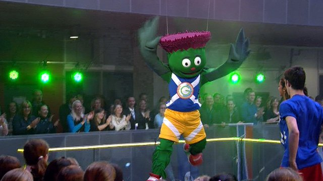 Clyde the Glasgow 2014 Commonwealth Games mascot in BBC Scotland