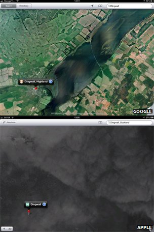 Screenshots of satellite coverage in Dingwall
