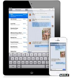 iMessages on an iPad and iPhone